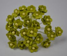 1.3cm LIME GREEN DOUBLE-LAYERED Daisy Mulberry Paper Flowers